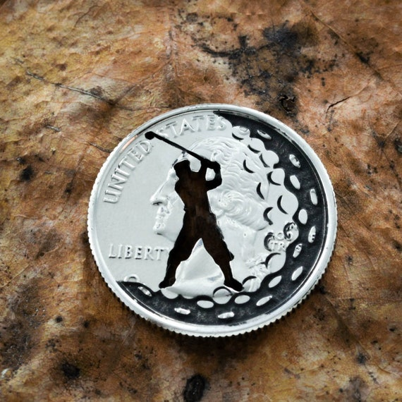Golf Gift, Man Or Woman Golfer, Dad or Mom Gift, Ball Marker and Divot Tool, Golf Gift, Engraved Quarter, Completely Customizable