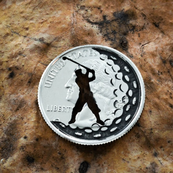 Golf Gift, Man Or Woman Golfer, Dad or Mom Gift, Ball Marker and Divot tool, Golf Gift, Engraved quarter, Completely Customizable,