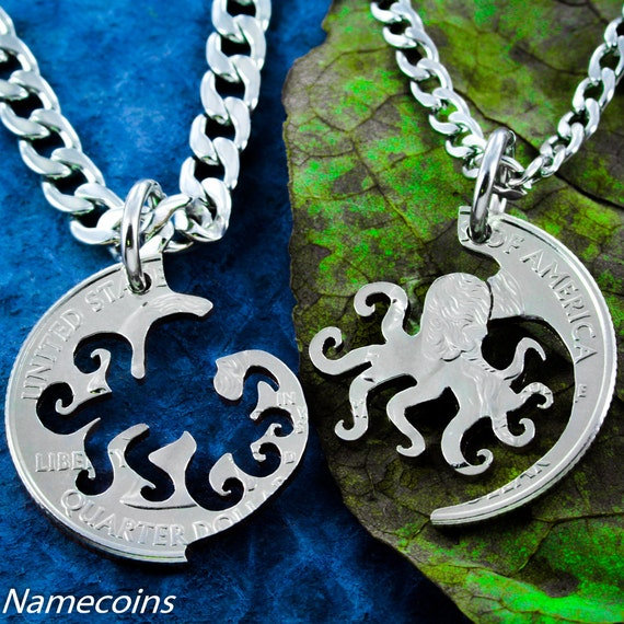 Octopus Best Friends Necklaces, BFF Gifts for 2, Interlocking Octopus That Fits Like A Puzzle, Unique Hand Cut Coin