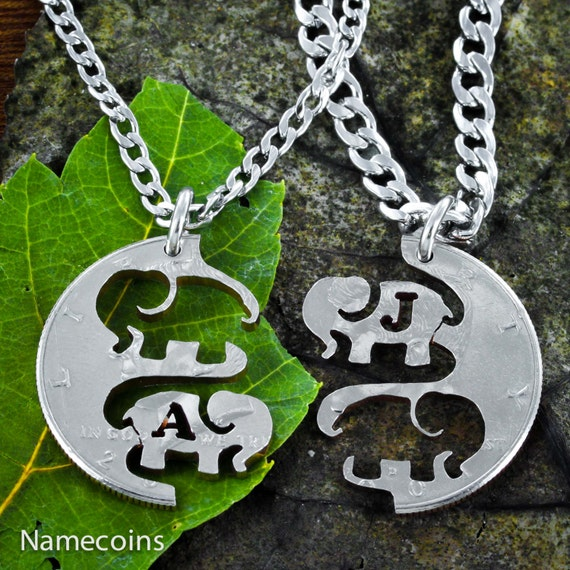 Personalized Elephant Couples Necklaces with your initials, Best Friends Necklaces, BFF Gifts, Interlocking Jewelry Set, hand cut quarter