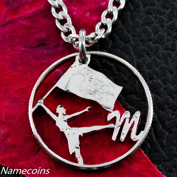 Color Guard Necklace with Your Initial, Hand Cut Coin