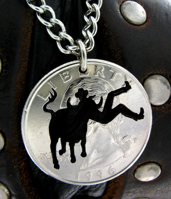 Bull Rider Necklace, Western Jewelry, hand cut coin