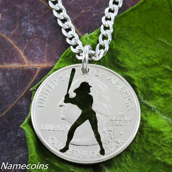 Softball Batter Necklace, Sport Gifts for Her, Women's Jewelry, Hand Cut Coin