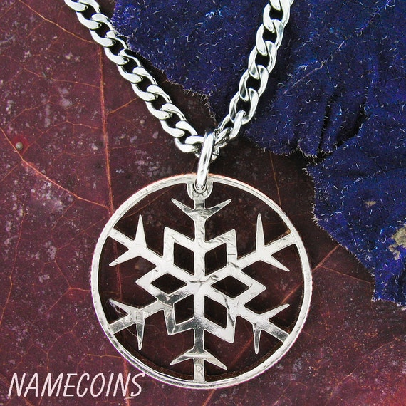 Snowflake Necklace, Winter Gift, Hand cut coin