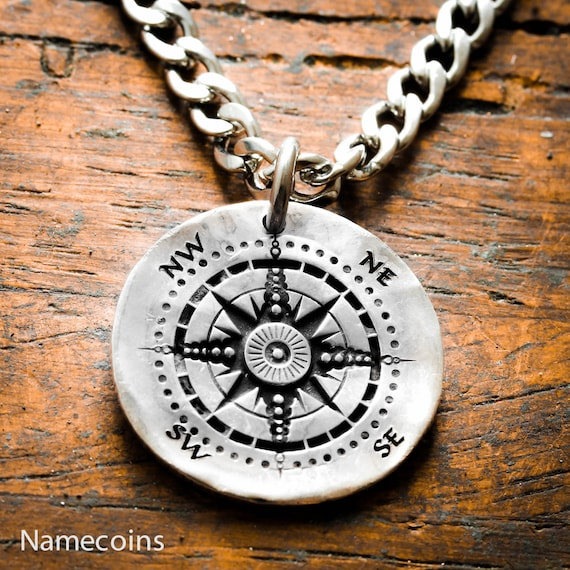Silver Compass necklace, Engraved into an old Hammered Silver Coin or Disk
