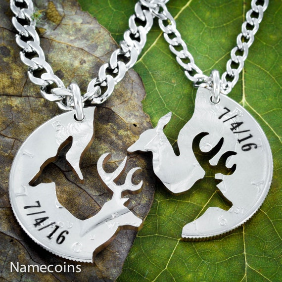 Anniversary Gift, Buck and Doe Couples Necklace with Custom Engraved Dates, Hand Cut Coin