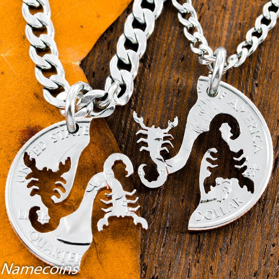Scorpion Couples or BFF Necklaces, Best Friend gifts, Relationship Interlocking hand cut coin