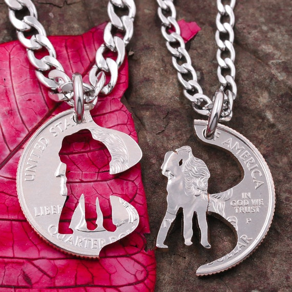 Couples Love Necklace, Anniversary Jewelry, Kissing Silhouette, Family Gifts, Hand Cut Coin