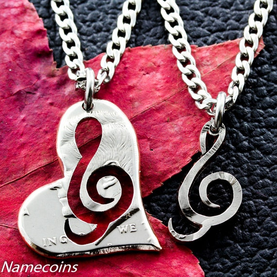 Treble Clef Heart BFF Necklaces, Best Friends or Couples music jewelry, hand cut half dollar