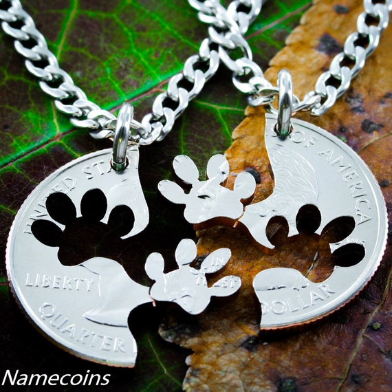 Dog Jewelry, Paw Print BFF Necklaces, Best friends Gifts, Interlocking Relationship cut coin, necklace, key chain, or collar tag