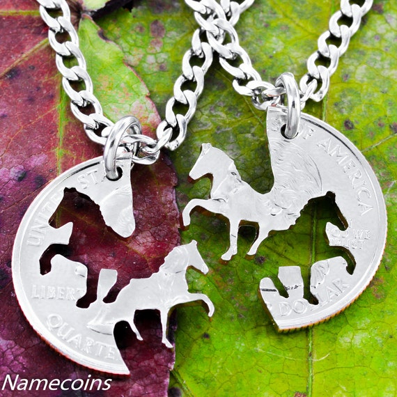 Horse Bff Necklaces, Cowgirl Best Friends Jewelry, Interlocking Handcrafted Cut Quarter