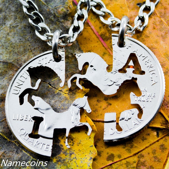 BFF Horse Necklaces for 2, Best Friends Horse Jewelry, Customized with your initials, His and Hers, Interlocking Handcrafted Cut Quarter