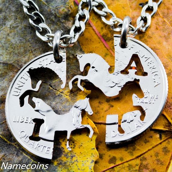 Bff Konia Naszyjniki Dla 2 Najlepsi Przyjaciele Koń Biżuteria Dostosowane Z Inicjałami Jego I Jej Blokujące Rzemiosła Cięte Kwartale
