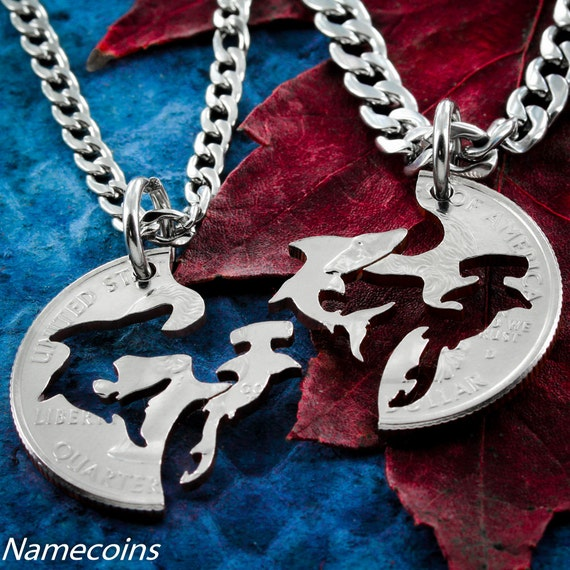 Shark Necklaces, Couples or Best Friends Gifts, Hammerhead and Shark, BFF for 2, Interlocking Like a Puzzle Jewelry, Hand Cut Coin