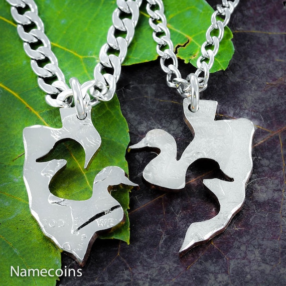 Duck Arrowhead couples necklaces, handcrafted out of a coin