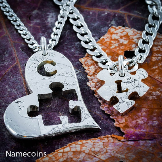 Puzzle Piece in Heart with Initials Necklace, Cut on a Real Silver Coin