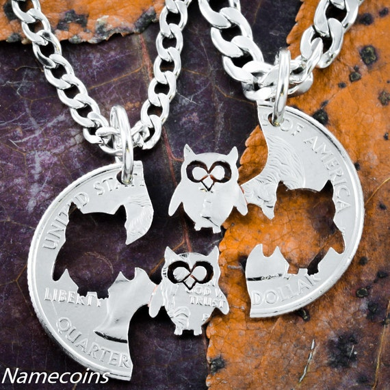 Owl BFF Necklaces, Best friends Gifts, Hand Cut Quarter