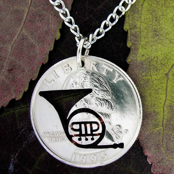 French Horn Necklace, band musician hand cut quarter