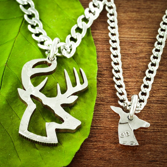 Buck and Doe Necklaces for 2, Hunting Couples Necklaces, Inside and Outside Pieces, Deer Hunting, Hand Cut Half Dollar Set