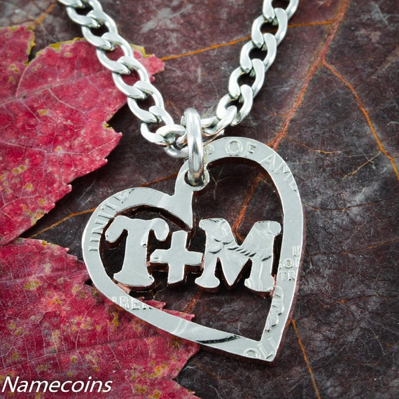 Custom Heart Necklace with your Name or Relationship, hand cut coin
