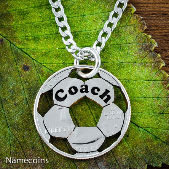 Soccer Coach Necklace, Custom Engraved Coach or Name, Hand Cut Soccer ball, US Coin