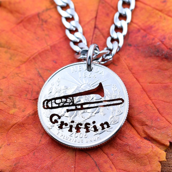 Trombone player, Hand cut name for Trombonist Music Lover, Coin gift