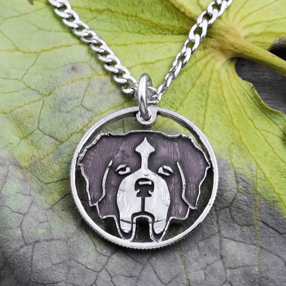 St. Bernard Dog Face Necklace, Memorial Jewelry, Pet Collars, Animal Pendants, Engraved Coin