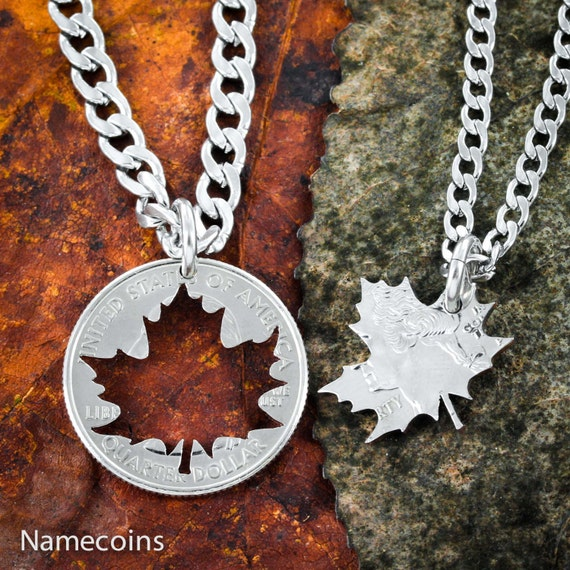 Leaf BFF Necklaces, Couples or Best Friends Gift, Maple Leaves, Inside and outside pieces, Hand Cut Coin