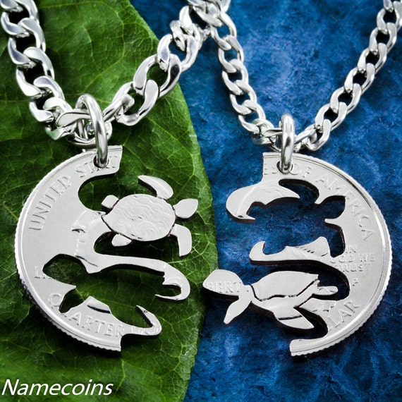 Sea Turtle Necklaces for Best Friends, Hand Cut Coin