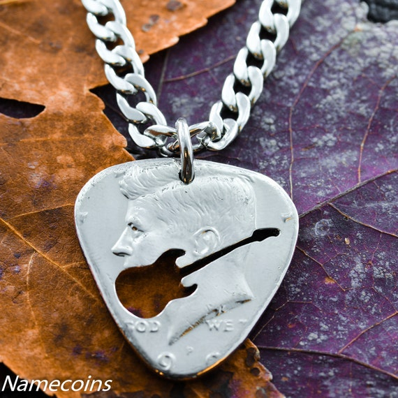 Guitar Pick Necklace, Cut and Burnished from Real Coin, Hand Cut Coin