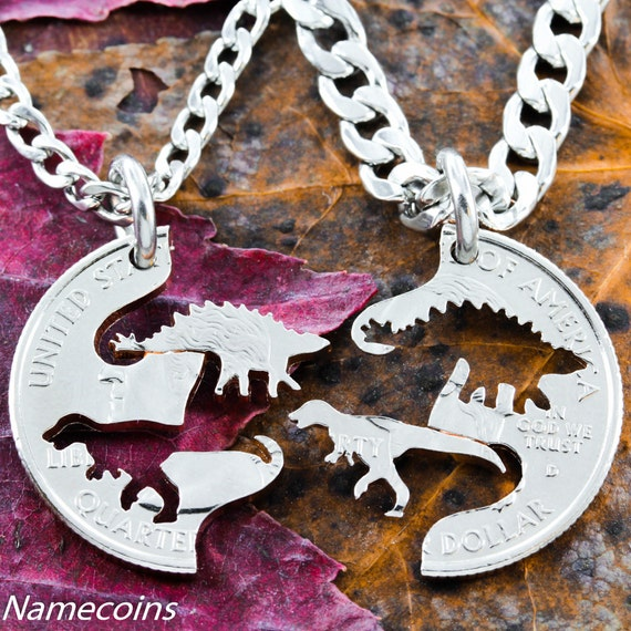 Dinosaur BFF Necklaces, Best Friends Gifts, Raptor and Stegosaurus, Hand Cut on a Quarter
