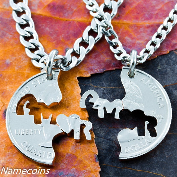 Amor Necklaces for 2, Love Jewelry, Love in Spanish, BFF Necklaces, Each Side Interlocks with the Other, Hand Cut Coin