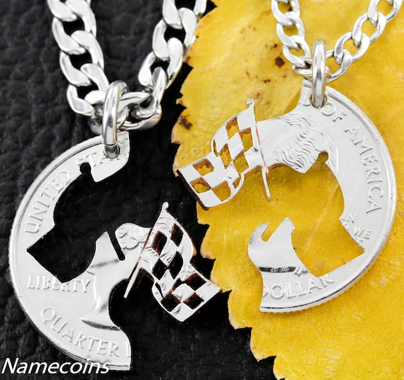 Racing flag Necklaces For Couples or Best Friends, interlocking hand cut quarter