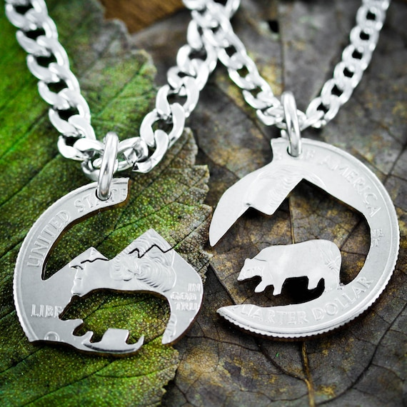 Bear and Mountain Necklaces for 2, Hiking Couples Necklaces, Best Friend Gifts, Interlocking hand cut coin