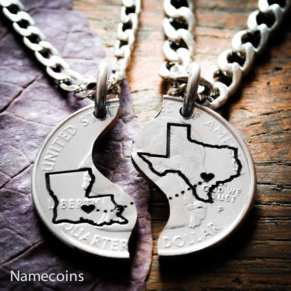 Long Distance Relationship Couples Necklaces, Custom states engraved, Heart on your cities, Coin and Silver Jewelry