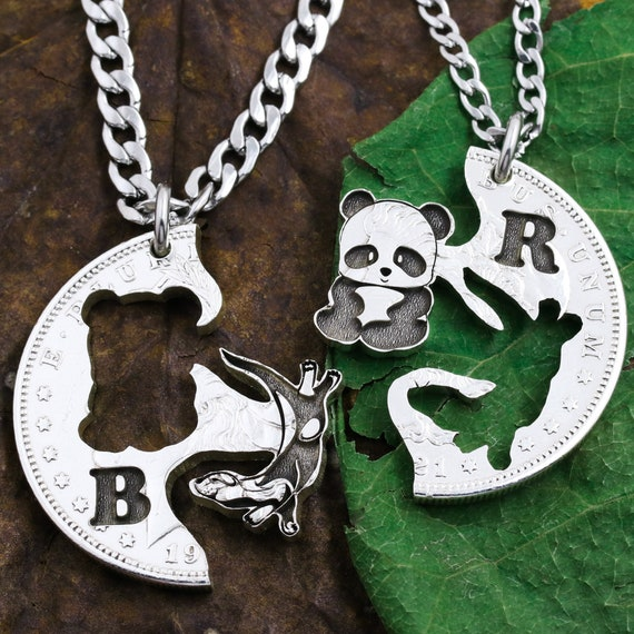 Panda and Otter Friendship Necklaces, Best Friends and Couples Jewelry, Initials, Relationship Jewelry