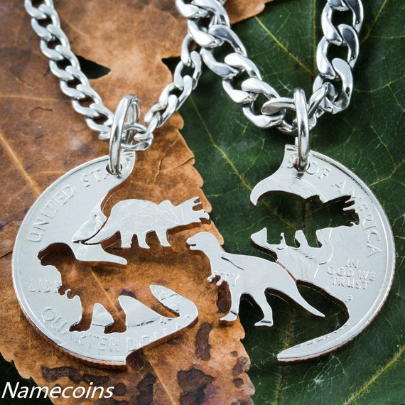 Dinosaur BFF Jewelry, Kids Best Friends Necklaces, T-rex and Triceratops Hand Cut on a Quarter