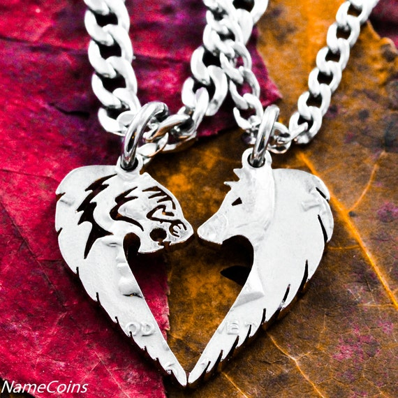 Tribal Tiger and Wolf Couples Necklaces, Friendship Jewelry, Hand Cut Coin