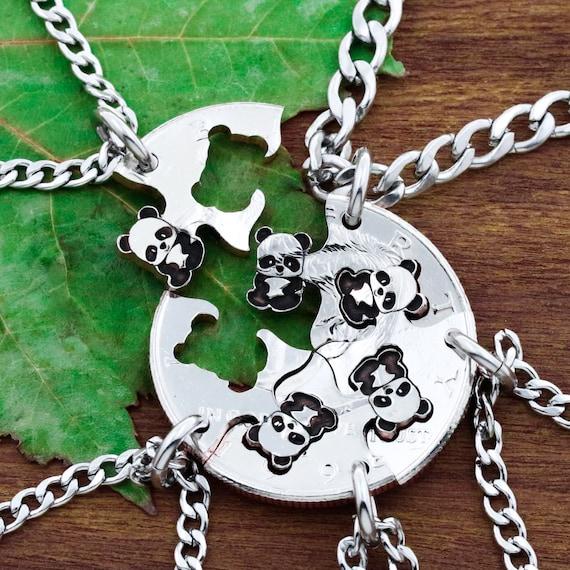 5 Panda Best Friends Necklaces, 5 BFF Gifts, Panda Bears friendship set, Interlocking Hand cut coin