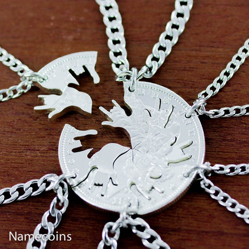 6 BFF or Family Necklaces Interlocking Like A Puzzle I love image 0