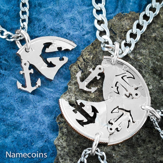 Anchors Away necklaces, 4 Best Friends or Family Necklaces, BFF Gifts for 4, Hand cut coin