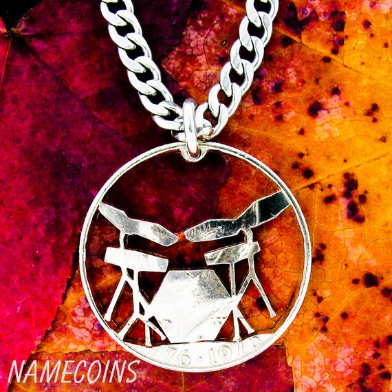 Electric Drum Set Necklace, Drummer Gift, Rockers jewelry, Gifts for a Guy, hand cut coin