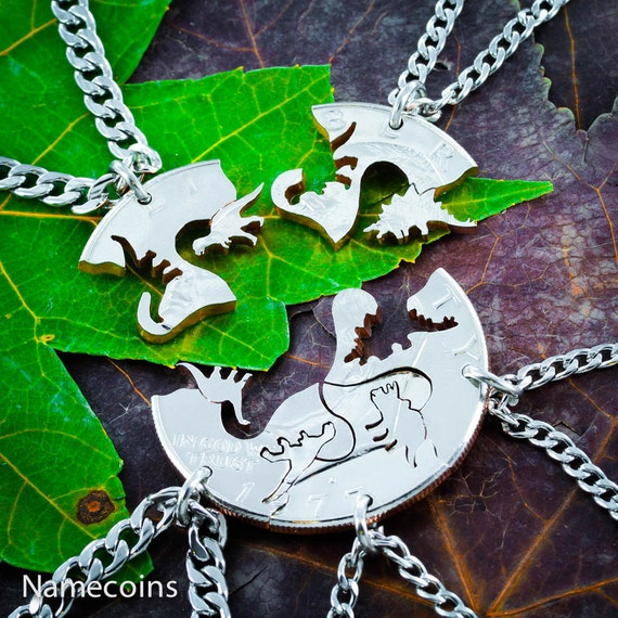 5 Best Friends Dinosaur Necklaces, 5 BFF Gifts for Kids, Puzzle Set, T-rex, Raptor, Triceratops, Brontosaurus, and Stegosaurus, Cut Coin