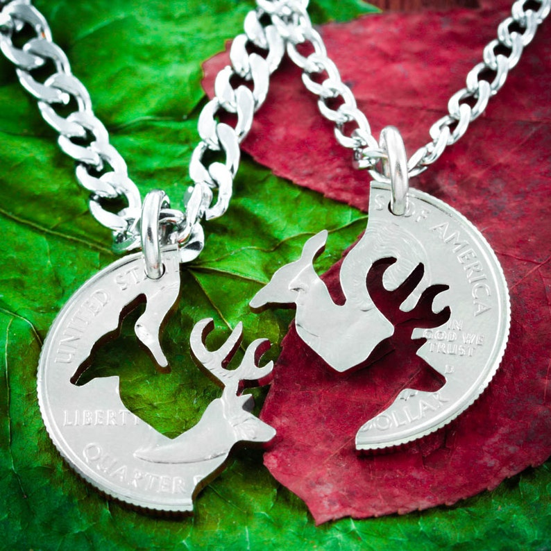 Buck and Doe Necklace Couples Necklaces Interlocking image 0
