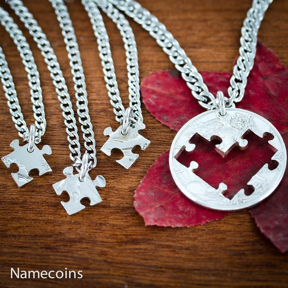 4 Best Friends Puzzle Piece Necklaces Cut From Heart, BFF Gifts for 4, Friendship or Family Jewelry