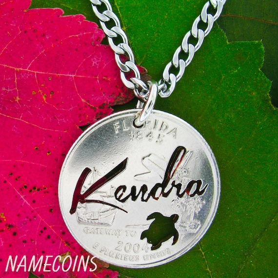Name Necklace, with turtle, Custom gift, Hand cut coin