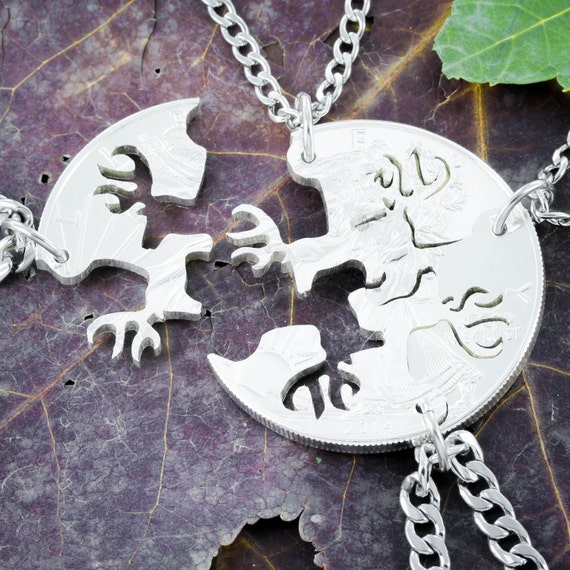 4 Best Friends Necklaces, Buck Deer Jewelry, 4 BFF Hunting buddy, Interlocking Hand Cut coin