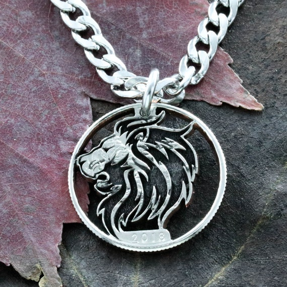 Lion Necklace, Roaring Lion, Boyfriend Jewelry, Date necklace, Big cat jewelry, Charm necklace, Hand cut from a Coin