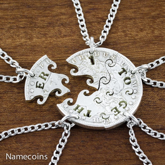Together One silver Family necklace, Interlocking puzzle Relationship set, hand cut Morgan silver Dollar