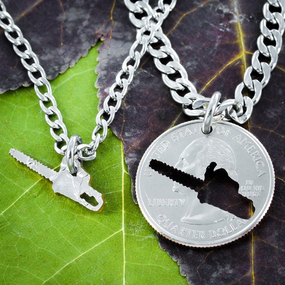 Lumberjack Chainsaw Coin Gift, Logger Wife, BFF, Woodsman Couples Keychain Jewelry